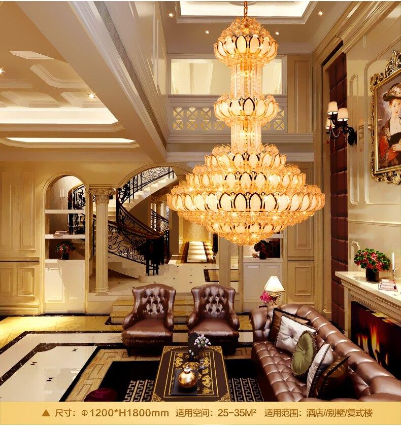 Crystal Chandelier Lighting Fixture LED Gold Chandeliers Lotus Flower Big Long Droplight Hotel Lobby Hall Villa Indoor Lamps in Chandeliers from Lights Lighting