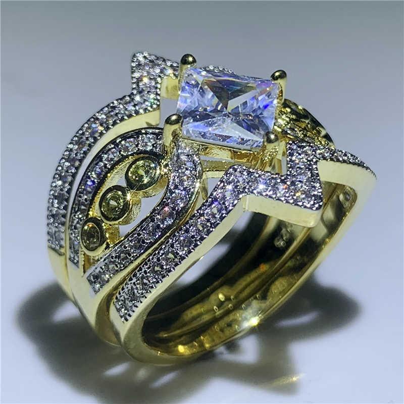 3 w 1 złoty pierścień przyrzeczenia zestaw 925 Sterling silver AAAA cz obrączka obrączki dla kobiet mężczyzn Finger Party biżuteria prezent