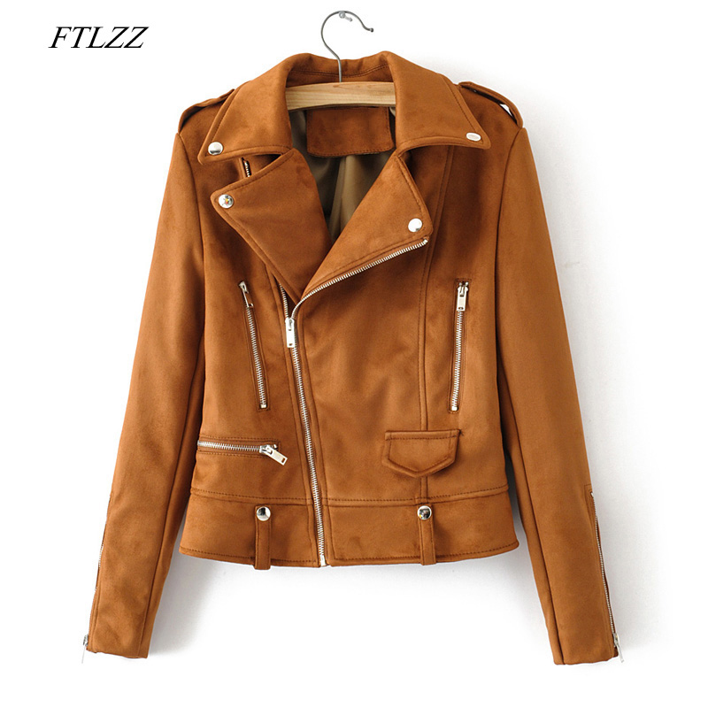 FTLZZ 2019 New Autumn Women   Suede   Jacket Coat Faux Soft   Leather   Casual Turn-down Collar Rivet Zipper Black Punk Female Outerwear