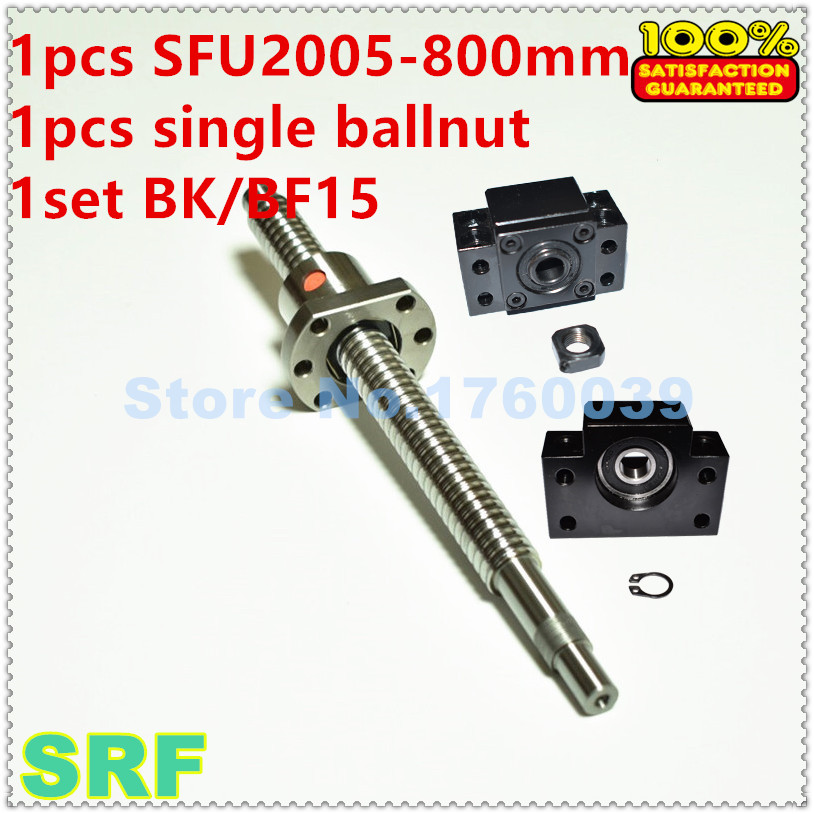 SFU2005 C7 Rolled Ballscrew 1pcs RM2005 L=800mm Lead ball screw+1pcs single ballnut+1pcs BK/BF15 end support for CNC part hot sale 1pcs 1604 rolled ball lead screw length 600mm 1pcs sfu1604 single ballnut 1set bk bf12 ballscrew end support cnc