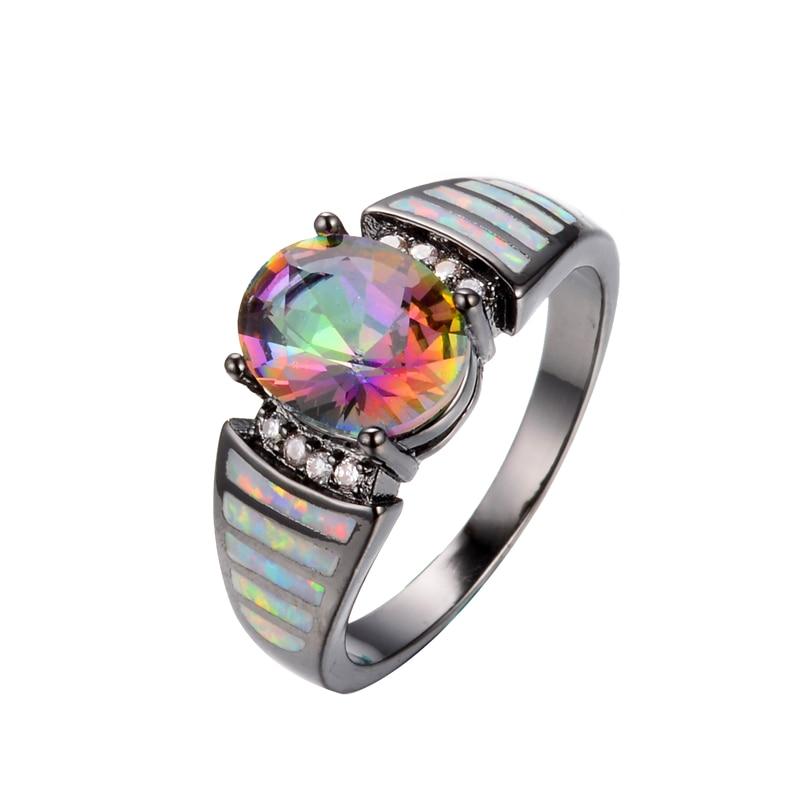 vintage rainbow crystal cz ring men women white fire opal engagement jewelry black gold filled wedding - Black Opal Wedding Rings