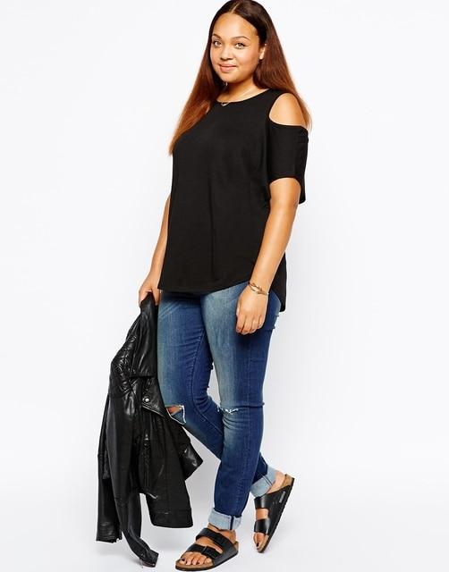 Fuera del hombro de la camiseta de las mujeres xxl ~ 6xl plus size clothing blusa mujer tops tees summer fashion camiseta de camisetas xxxl de manga corta