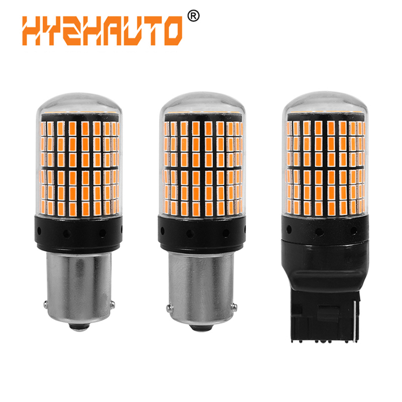 HYZHAUTO 2Pcs <font><b>1156</b></font> BA15S <font><b>P21W</b></font> LED Bulbs 3014 144smd BAU15S PY21W T20 W21W LED <font><b>Canbus</b></font> Lamp For Turn Signal Light No Flash 12/24V image
