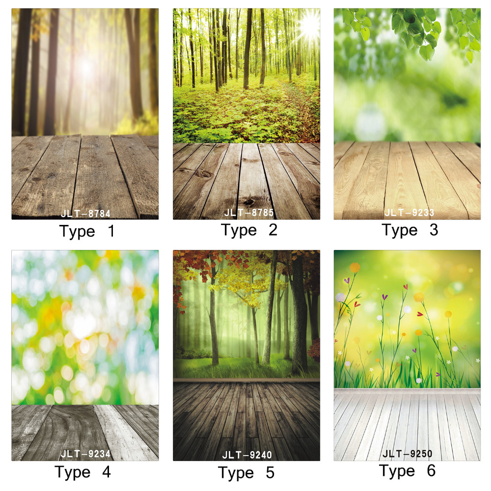 Spring Photography Background Green Tree Bokeh Wall Wooden Floor Printed Baby Photo Backdrops Art Fabric Newborn Wood Backdrops