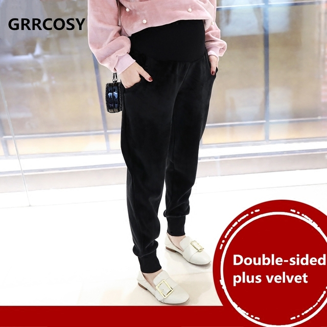 853c3c1233b2d GRRCOSY Maternity Winter Pant Plus Double Velvet Thicker Loose Pregnant  Woman Sweatpants Bloom Pants Trousers Velour