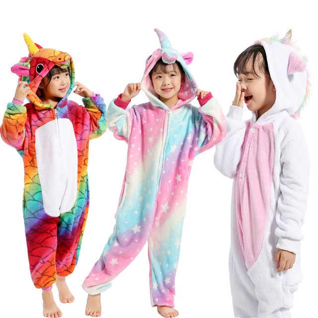 Children Pajamas Unicorn Winter Pajama Cartoon Animal Sleepwear Onesie Kids Costume Fleece Warm Flannel Kids Blanket Sleepwear цена