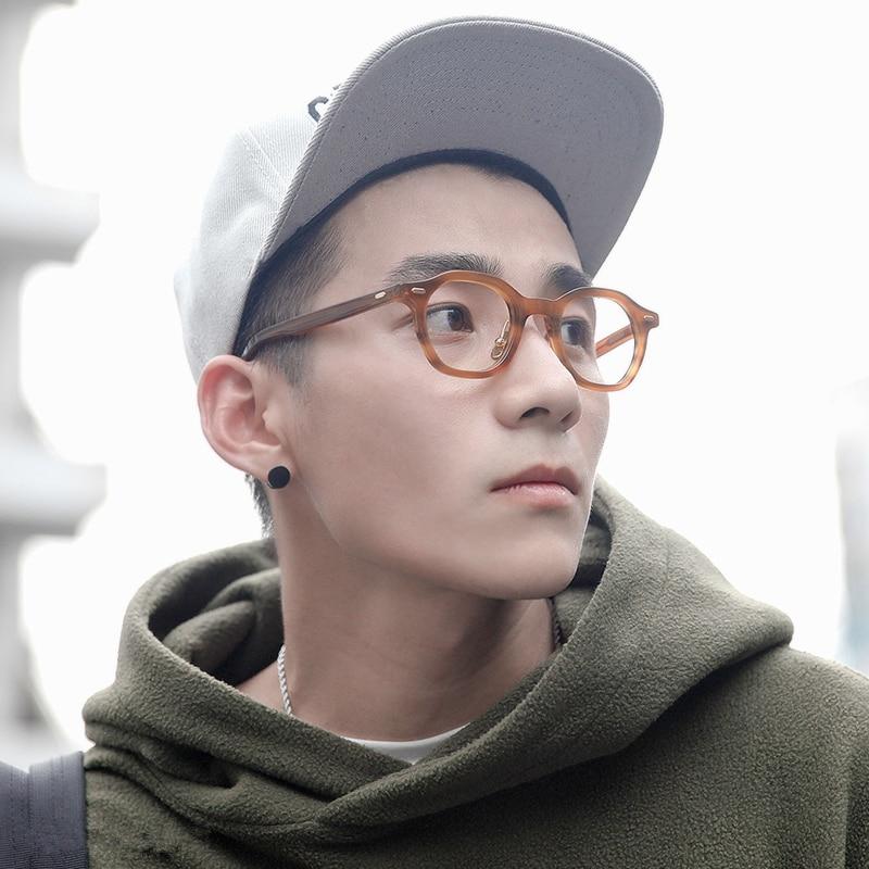 Gafas de acetato de alta calidad estilo de negocios de ocio gafas de sol Retro Vintage para hombre gafas de mujer gafas ópticas marco polígono - 3