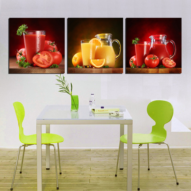 Modern Champagne Fruit Juice Canvas Painting Print Kitchen Decor Restaurant Dinning House Wall Art Picture