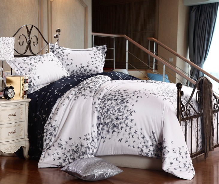 Butterfly Luxury Egyptian Cotton Bedding Sets Queen Size Quilt Duvet Cover Bed In A Bag Sheets