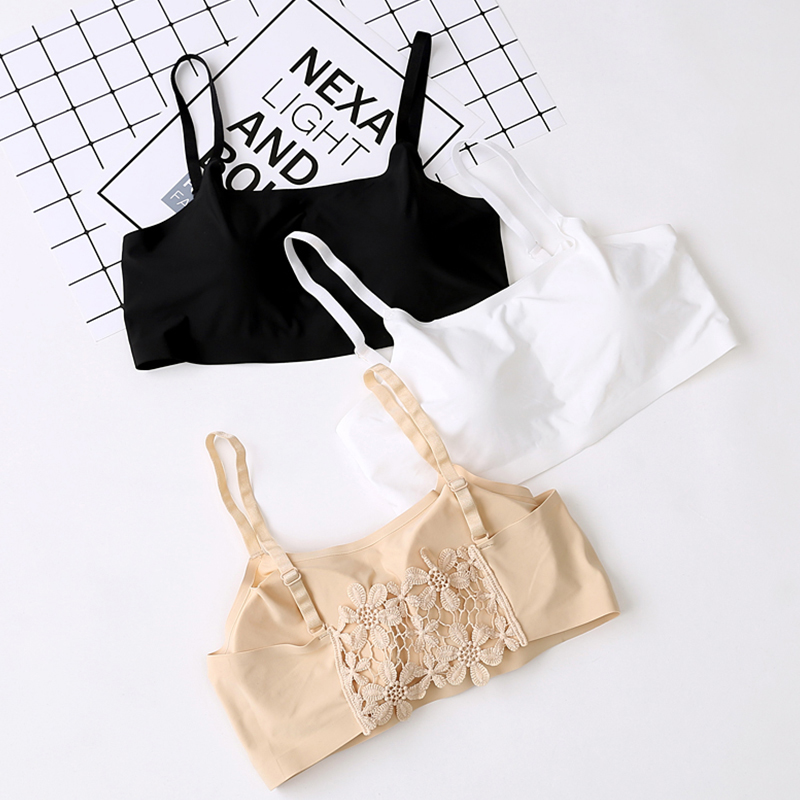 530f76451d Seamless Tube Crop Tops Girl Sleep Vest Wrapped Chest Bra One-Piece Padded Bra  Sexy Flower Back Underwear Women Hollow Tank Top