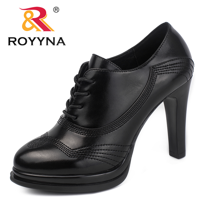 ROYYNA New Arrival Classics Style Women Pumps High Heels Femme Moccasins Lace Up Lady Dress Shoes Platform Mujer Wedding Shoes