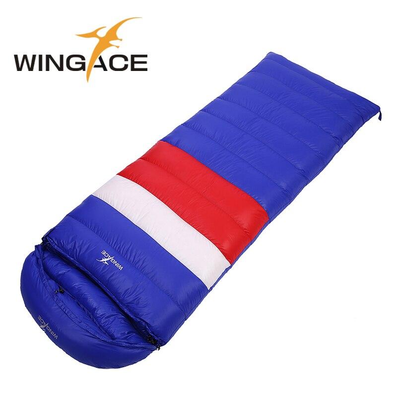 WINGACE duvet de canard 1200g sac de couchage de sommeil sac de couchage en plein air spliced enveloppe adulte épaississement d'hiver vers le bas sac de couchage