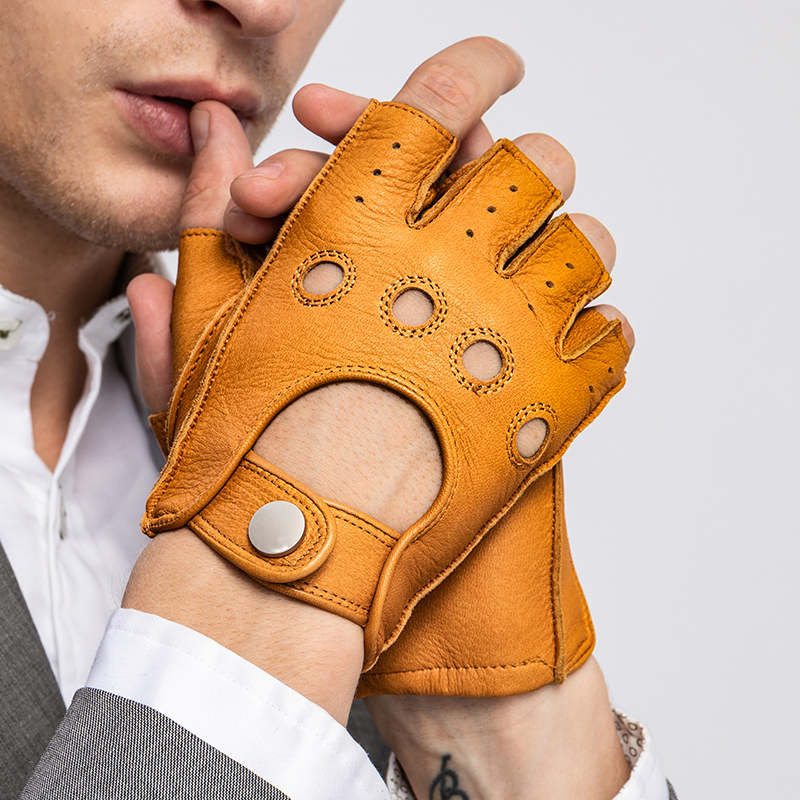 Fashion Fall and Winter Men Goatskin Gloves Half Finger Driving Unlined Glove Genuine Leather Mittens Gym Fitness Gloves