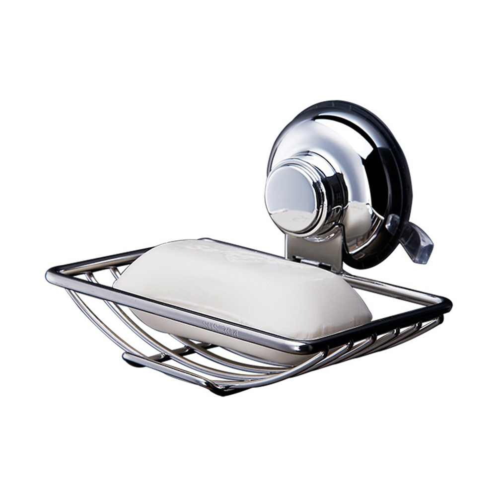 Bathroom Soap Dish Holder Wall Hanging Stainless Steel Soap Holder Powerful Vacuum Suction Cup For Kitchen Bathroom  Supplies -L
