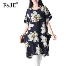 """F & Je новый летний Мода 2017 г. корейский стиль Для женщин рукав """"летучая мышь"""" Дизайн хлопок белье платье свободные Повседневное Винтаж принт Платья для женщин j931"""