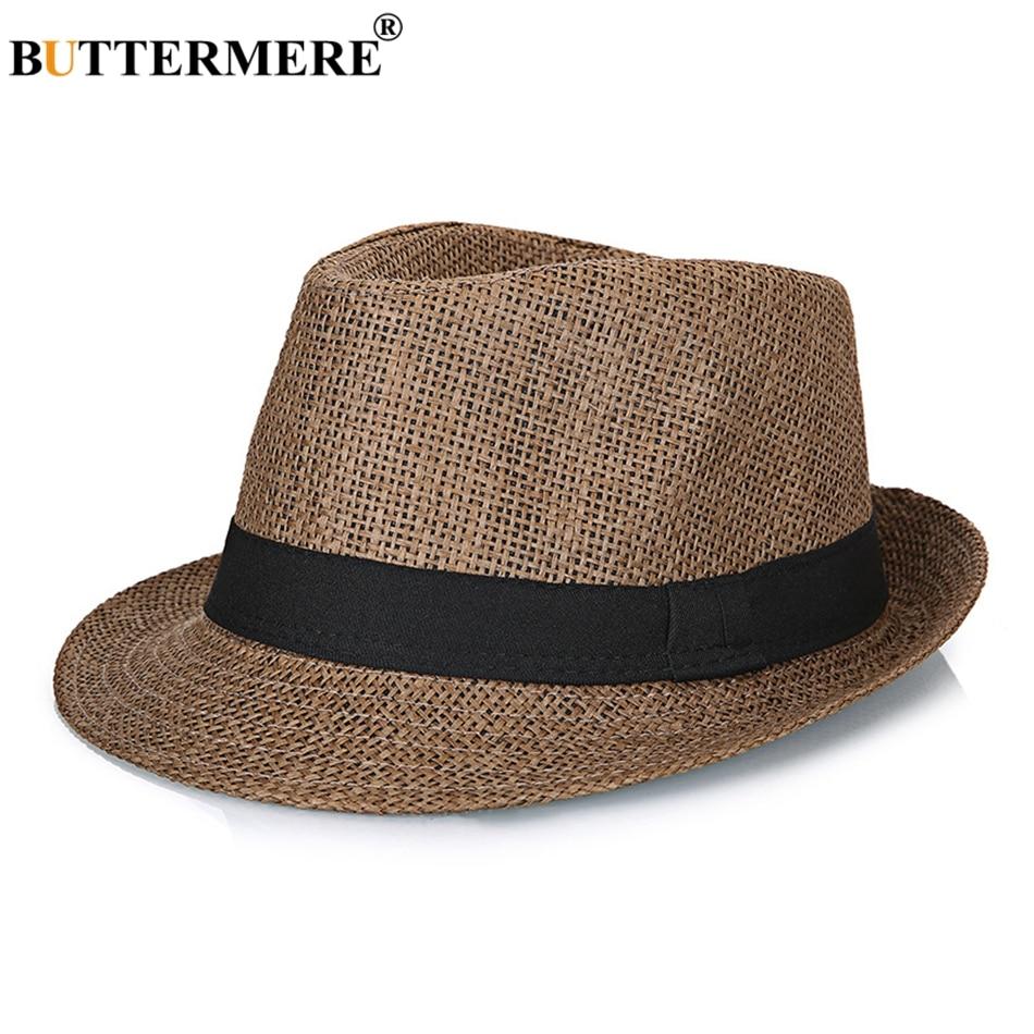 Straw Fedora Hats Mens Navy Blue Vintage Summer Beach Hat Ladies Casual  England Style Designer Classic Jazz Hats 432b5a29180