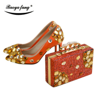 New arrival Luxury Women wedding shoes with matching bags 8cm Pointed toe Orange color High Pumps fashion ladies shoes