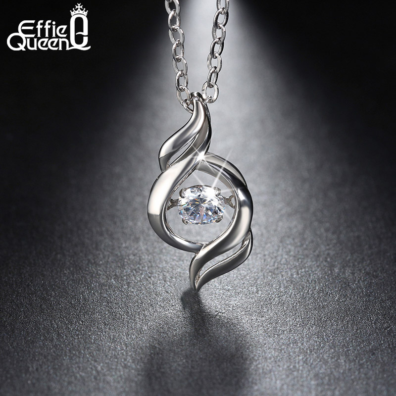 Effie Queen 100% Real 925 Sterling Silver Necklace White Cubic Zirconia Heartbeat Angel Wing Clavicle Necklaces&Pendants BN11