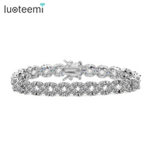 LUOTEEMI Top AAA Quality Fashion White Gold Color Clear CZ Stone Charm Bracelet Bangles for Women