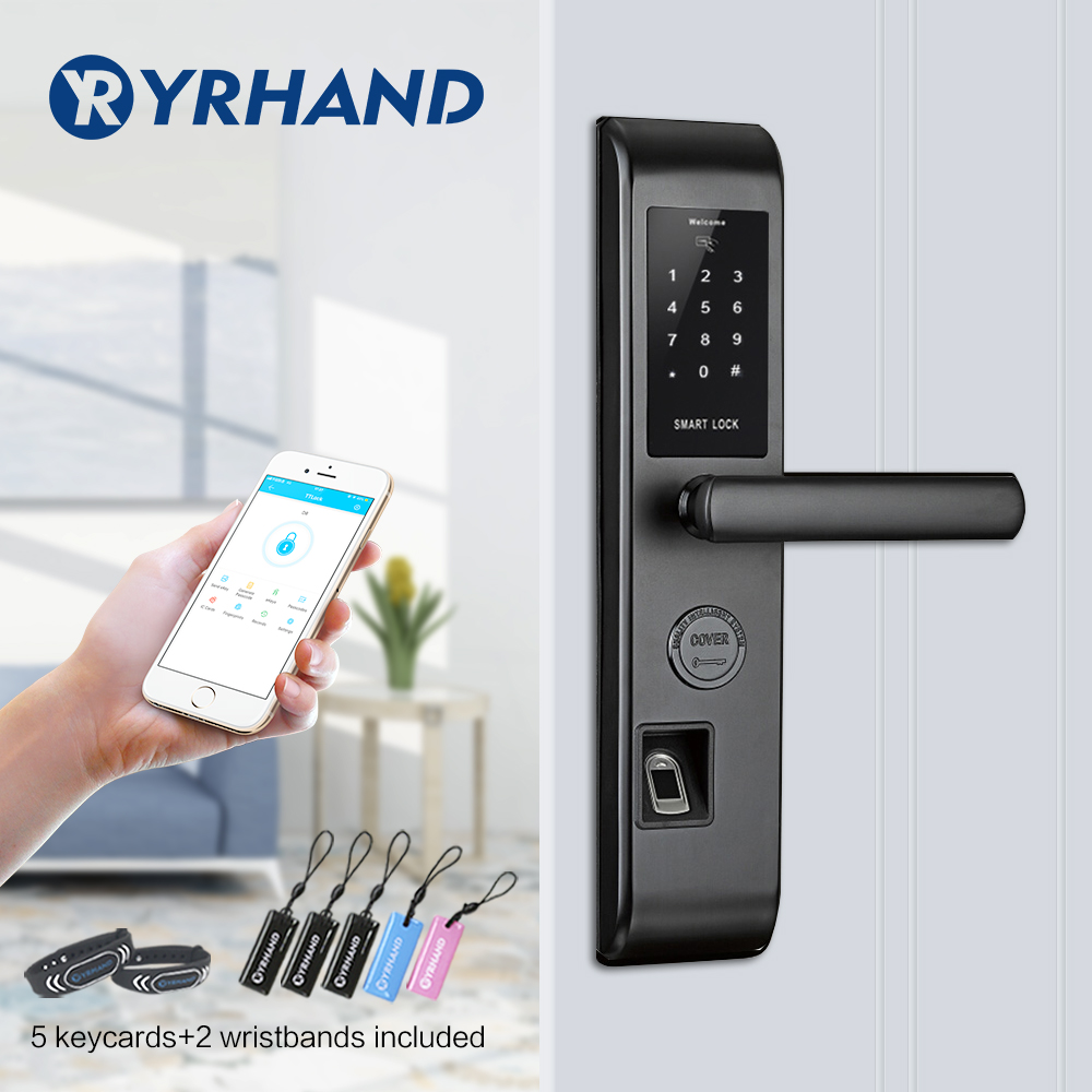 WiFi Smart Door Lock, Intelligent Fingerprint Reader Scanning Password Lock Bluetooth Fingerprint Smart Keyless Lock image
