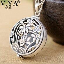 V.YA gerçek 925 ayar gümüş madalyon kutusu kolye kadınlar için kadın içi boş çiçek şekli kolye takı zinciri olmadan