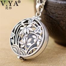 V. ya real 925 prata esterlina medalhão caixa pingente para feminino oco flor forma pingentes jóias sem corrente