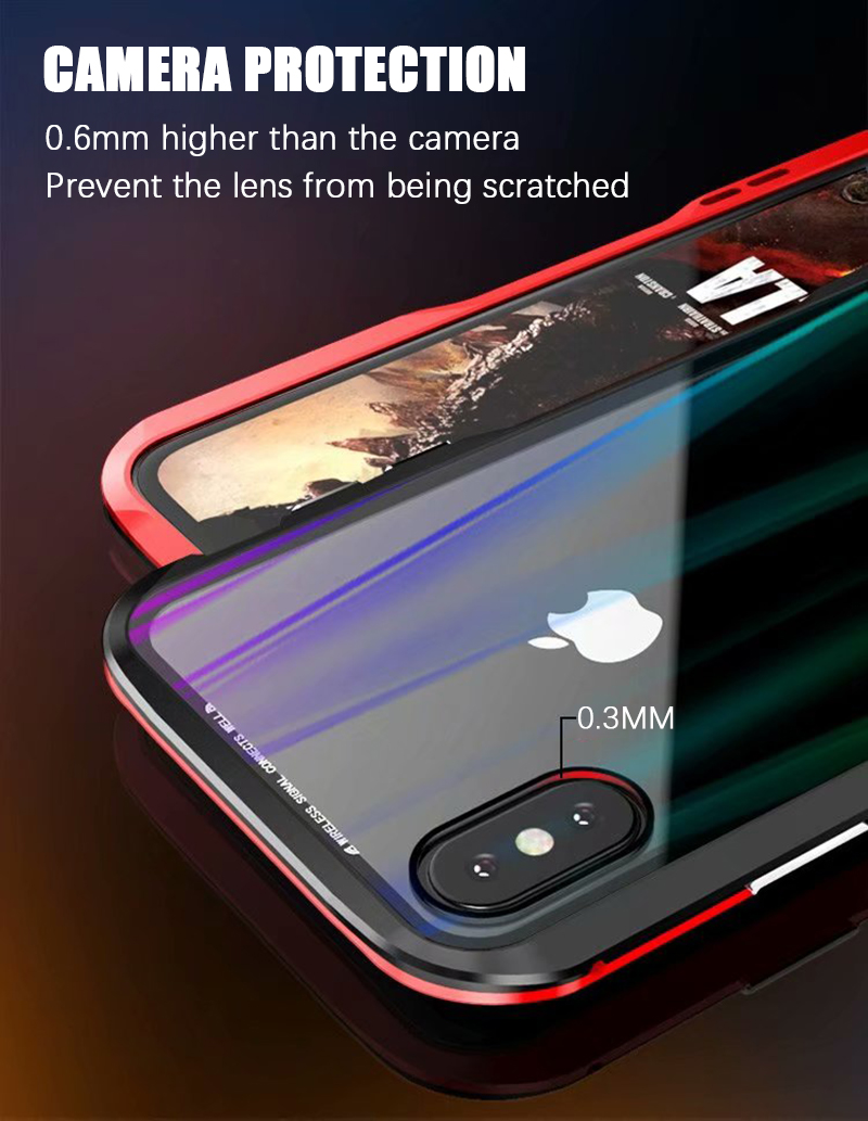 Luxury Magnetic Case For Apple iPhone XS Max Case coque Metal bumper cover For iPhone XR Case Transparent Aurora tempered glass  (9)