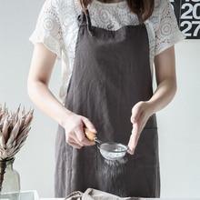 2018 Лидер продаж высокого класса серый лен барбекю фартук с карманом моды фартук для Для женщин Для мужчин Старший хлопок комбинезон Кухня приготовления Ресторан