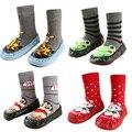 Invierno Del Bebé Recién Nacido Niño Niña Niños Calcetines Antis del Resbalón Zapatos Zapatillas Botas de Cuero Suave Con Suela de Dibujos Animados Calcetines 2016 Nuevo