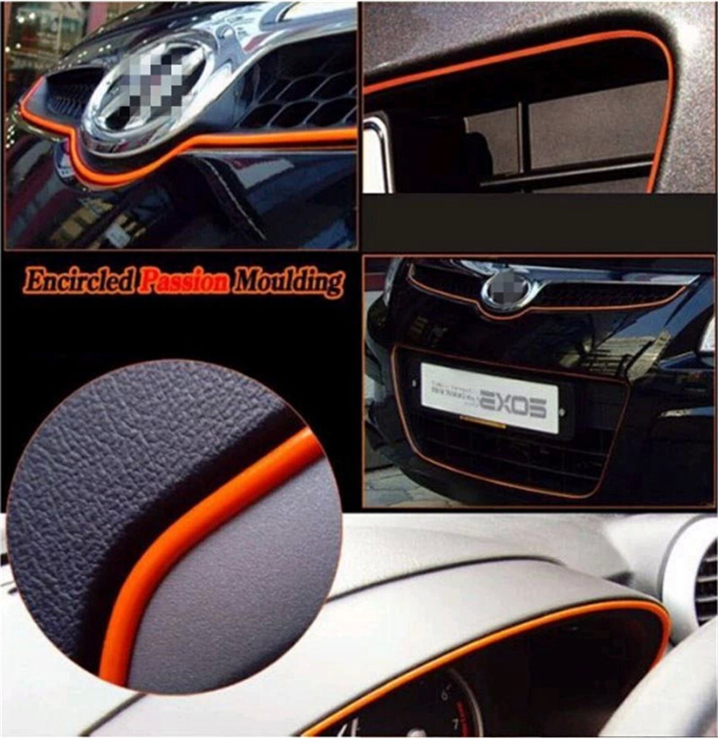 5meter multicolor car styling flexible trim moulding body sticker indoor modify interior trim. Black Bedroom Furniture Sets. Home Design Ideas