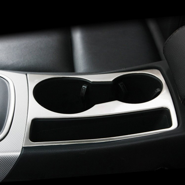 For Audi A4 A5 stainless steel car water cup holder frame decal cover trim  S line logo interior 3D sticker accessories