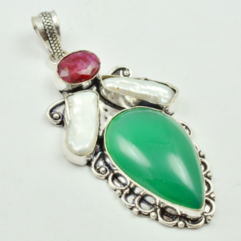 Green Onyx Rubys Pendant Silver Overlay over Copper 68mm P3538 in Pendants from Jewelry Accessories