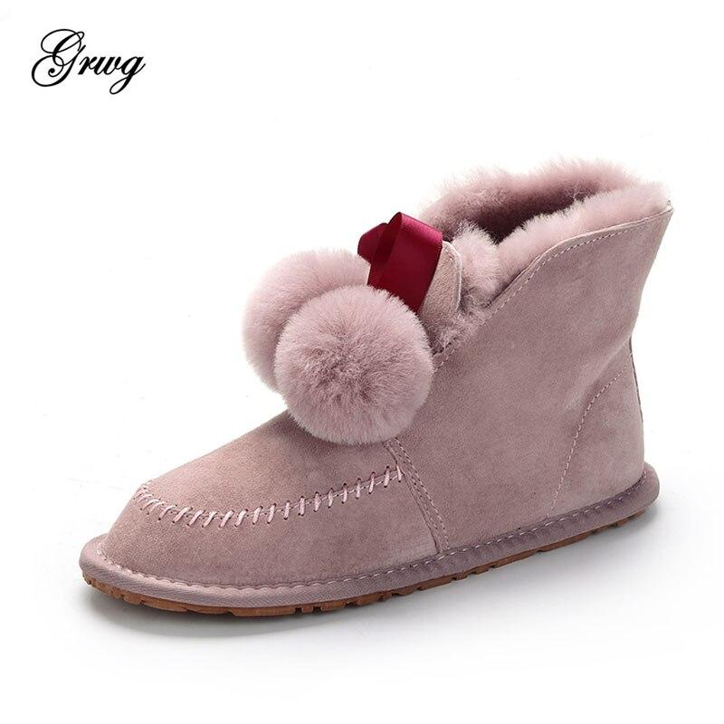أعلى جودة النساء الثلوج جلد طبيعي الطبيعي الفراء أحذية الشتاء المرأة الأزياء الكاحل أحذية حريمي برقبة الصوف الأحذية الدافئة-في أحذية الكاحل من أحذية على  مجموعة 1
