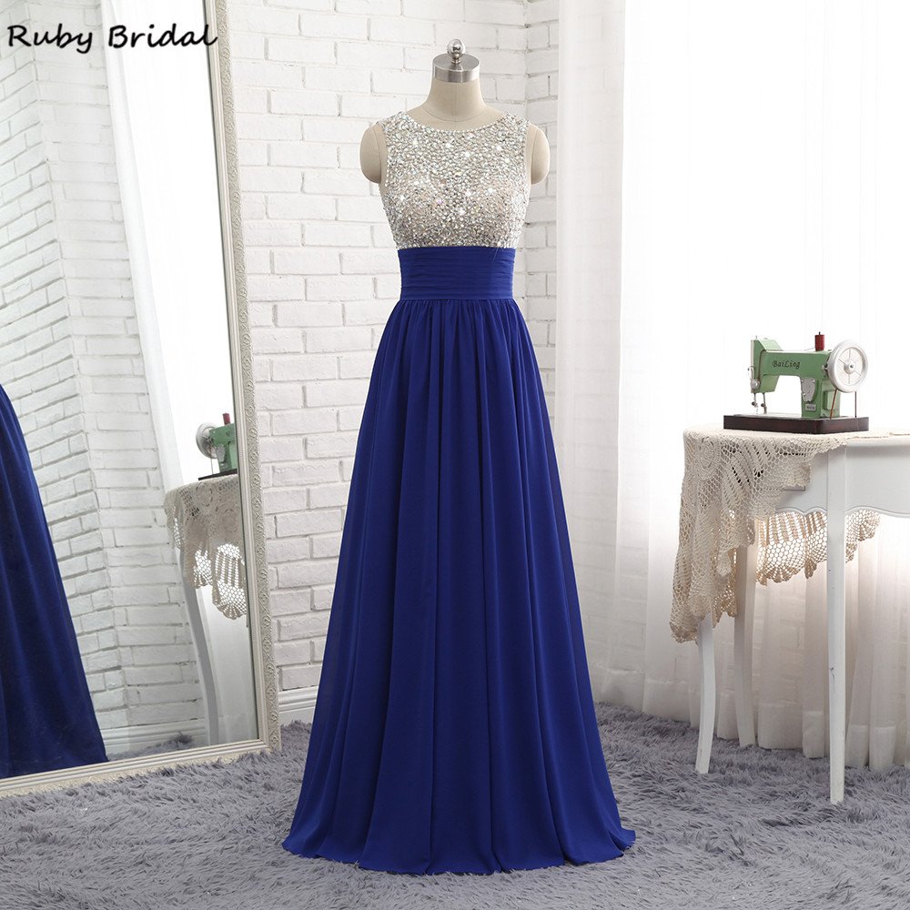 Ruby Bridal 2017 Luxury Long A-line Royal Blue Evening Dresses Chiffon  Beaded Vestido De cfc2205d5644