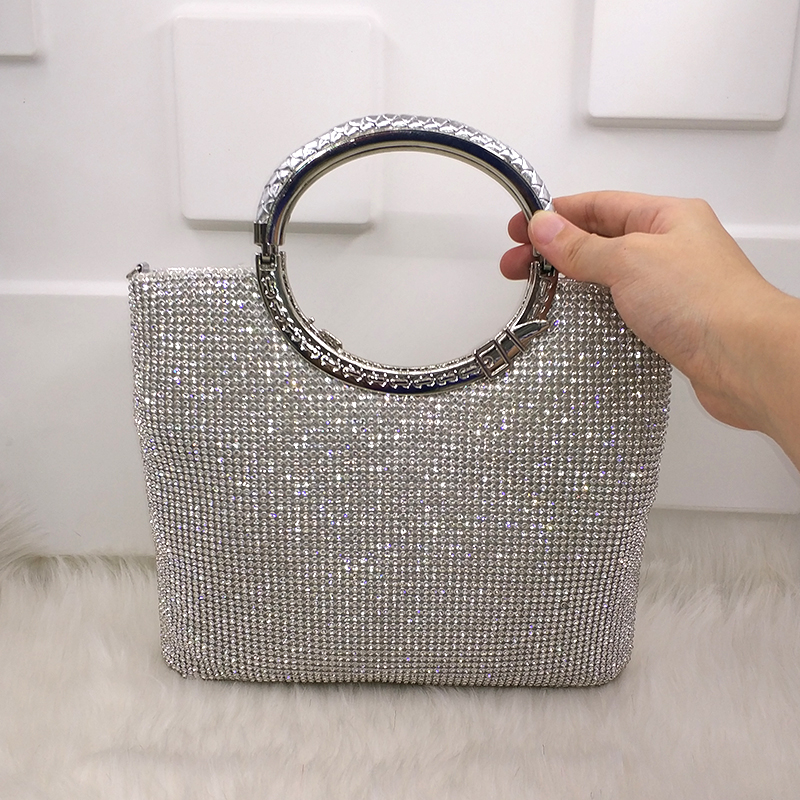 519b2fb332ec Crystal diamond elegant clutch women bridal wedding wallet purse evening party  bag gold silver
