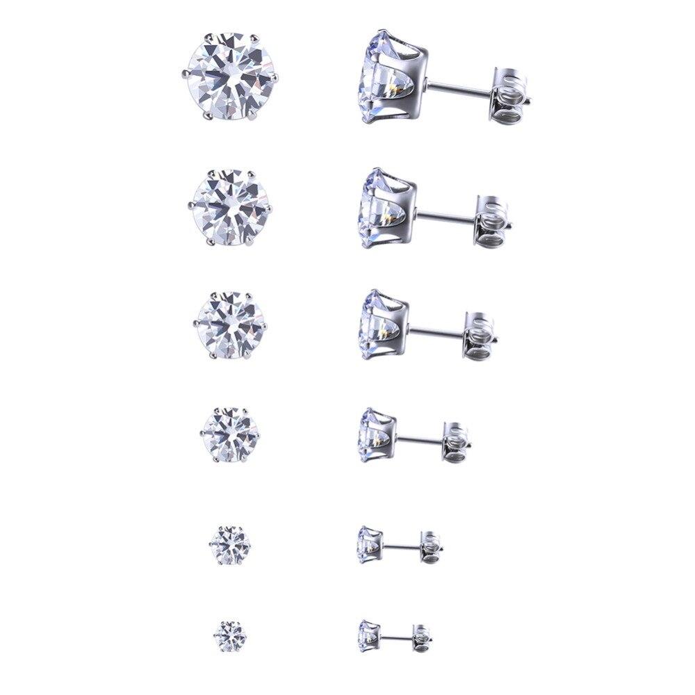 53b165522f77 Venta caliente de alta calidad 6 par lote plateado ronda cubic zirconia  Craw Pendientes de broche mujeres hombres encanto Pendientes joyería