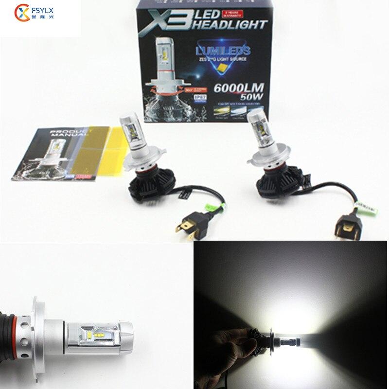 X3 H4 H7 H11 9005 9006 H13 Car LED Headlights Bulbs 50W 12000LM All in one CSP LED Headlamp fog light bulb 3000K 6500K 8000K nighteye 50w 8000lm h4 h13 h7 h11 9005 9006 led car headlight bulbs seoul chips csp led headlights all in one lamp front light