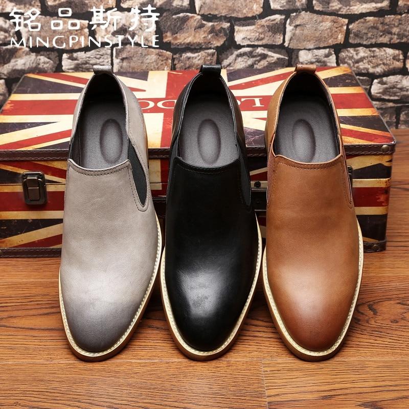 De Sapatos 45 Homens 38 Marrom Negros gray 2018 Black Escorregar brown Couro Outono No w1qCd05C