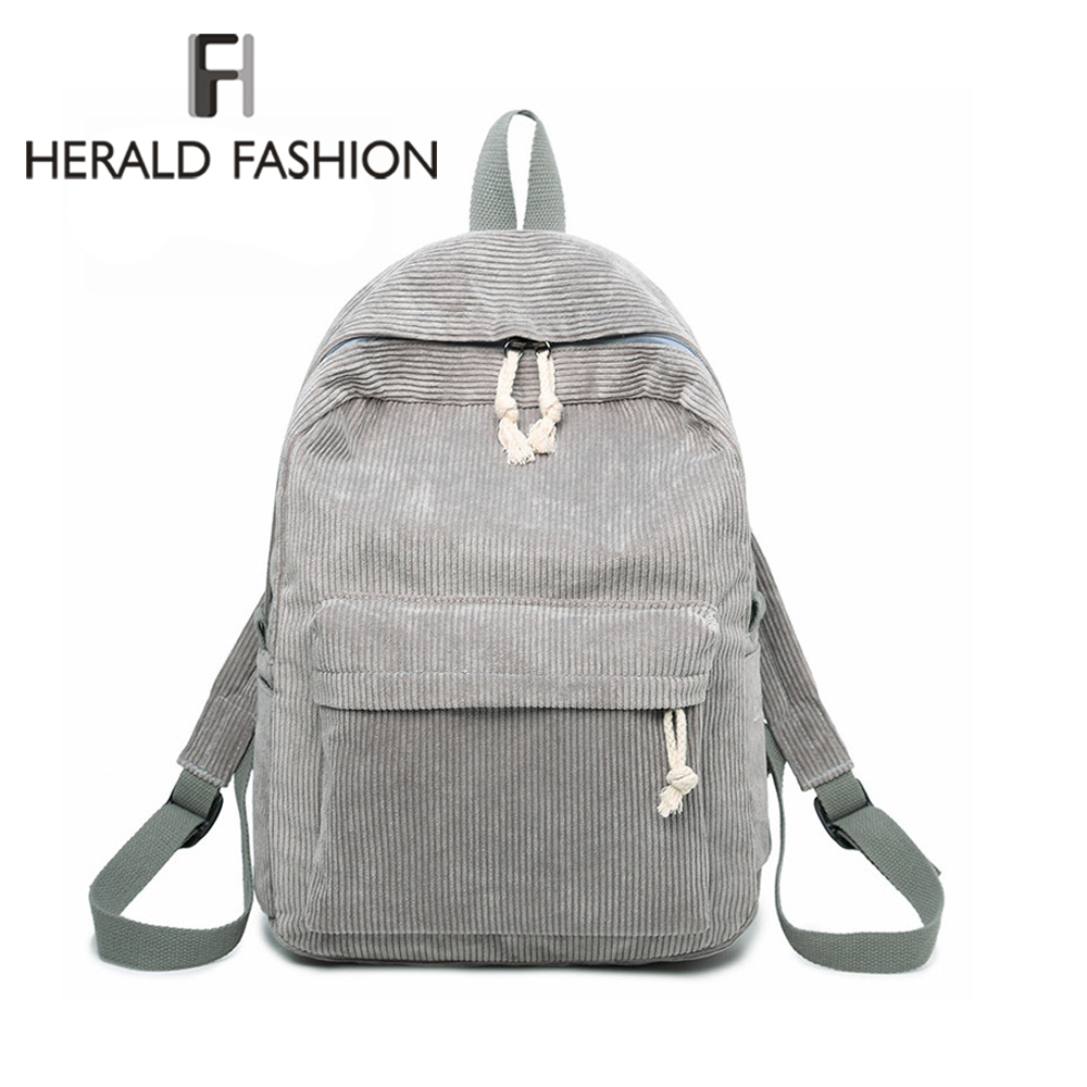Herald Fashion Preppy Fabric Backpack Female Corduroy Design Collage School Backpack For Teenage Girls Striped Backpack Women