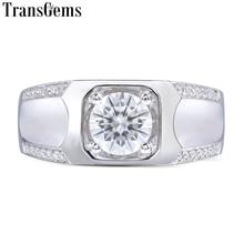 Transgems Genuine 14k White Gold 1 Ct DEColor Test Positive Engagement Wedding Lab Grown Moissanite Diamond Ring