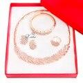 Oro de la manera Plateó Sistemas de la Joyería de Perlas Africanas Sistemas de La Joyería Nupcial de La Boda de La Vendimia para Las Mujeres de Cristal de Trigo en forma de collar