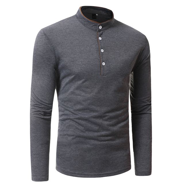 2018 New Brand Men Polo Shirt Solid Color Long-Sleeve Slim Fit Shirt Men Cotton Polo Shirts Casual Shirts XXXL T969 5