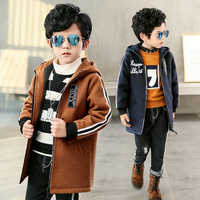Boys new autumn and winter woolen coat baby boy clothes 2017 Fashion striped sleeve coat for children 5-12 years old