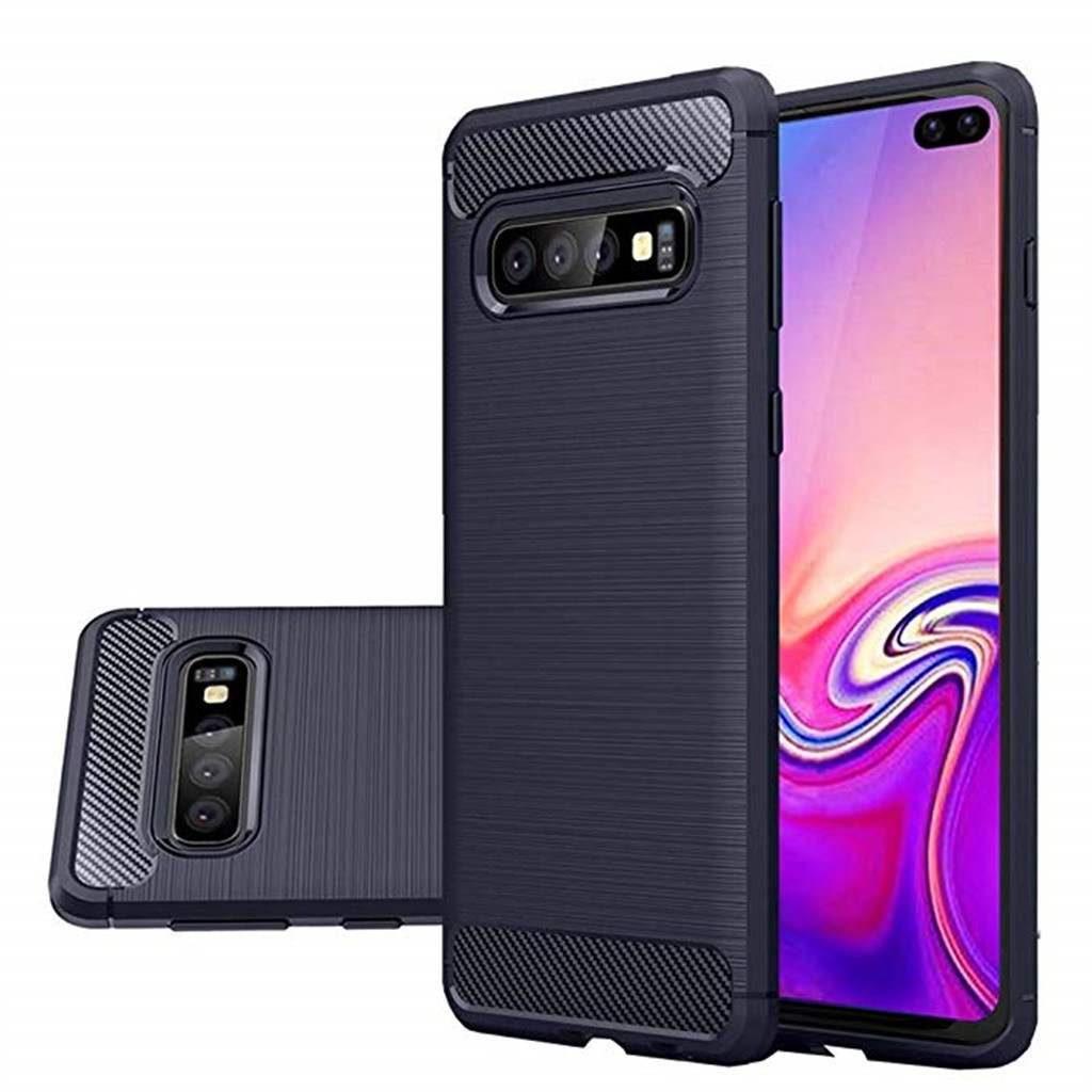 For Samsung Galaxy S10 Plus 6.4Inch Silicone Hybrid Case Soft TPU Cover Frosted Anti-Slip Feel Protection Back Cover Simple