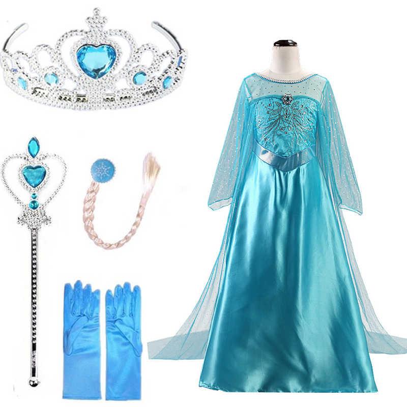 bf94deba825fb Elsa Dresses For Gilrs Cosplay Princess Anna Elza Snow Queen Elsa ...