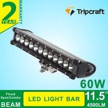 11.5 pulgadas 4×4 auto cree llevó barras de luz 60 W led de conducción barra de luz para camiones 10-30 V offroad led barra de luces 60 W