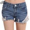 Tlzc mujeres wash jeans denim shorts de encaje de flores rebordear tamaño sm verano nueva señora de la manera pantalones cortos pantalones