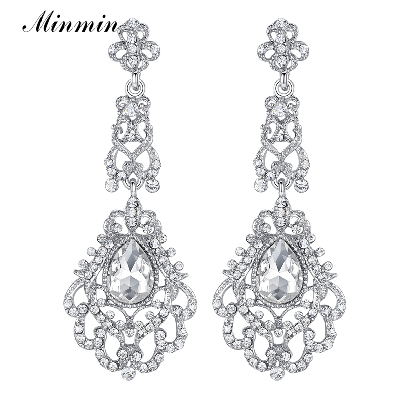 New Arrival Big Blue and Green Glass Crystal Earrings Chandelier Bridal Earrings for Women White K Plated Long Earrings EH161