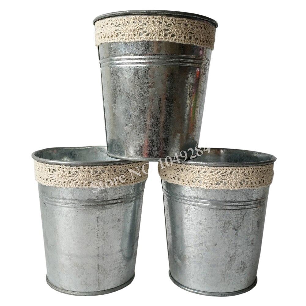 Vintage nostalgia d10 5 h11cm wholesale metal planter for Metal bucket planter