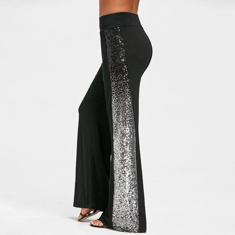 2019 Summer Women Sequins Gradient Palazzo   Pants     Wide     Leg     Pants   High Waist Trousers Women Pantalon Femme